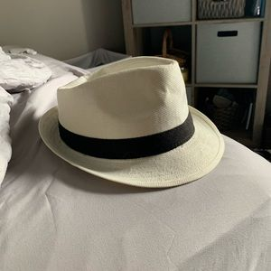 Cream hat with black band